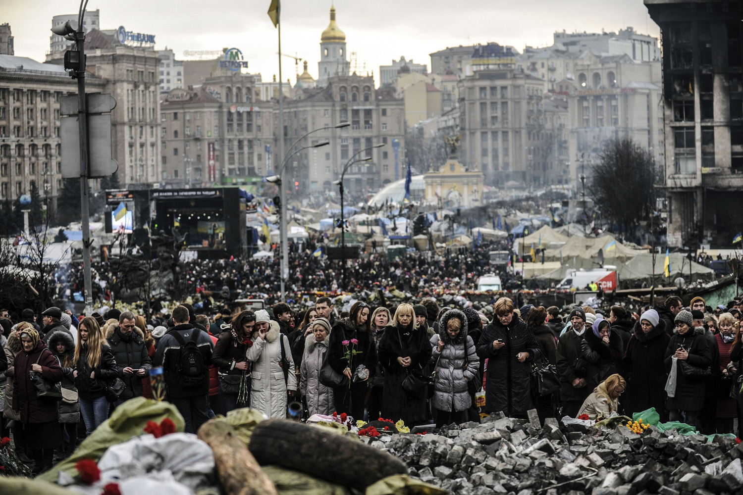 People mourn on Kiev's Independence Square, Feb. 25, 2014.