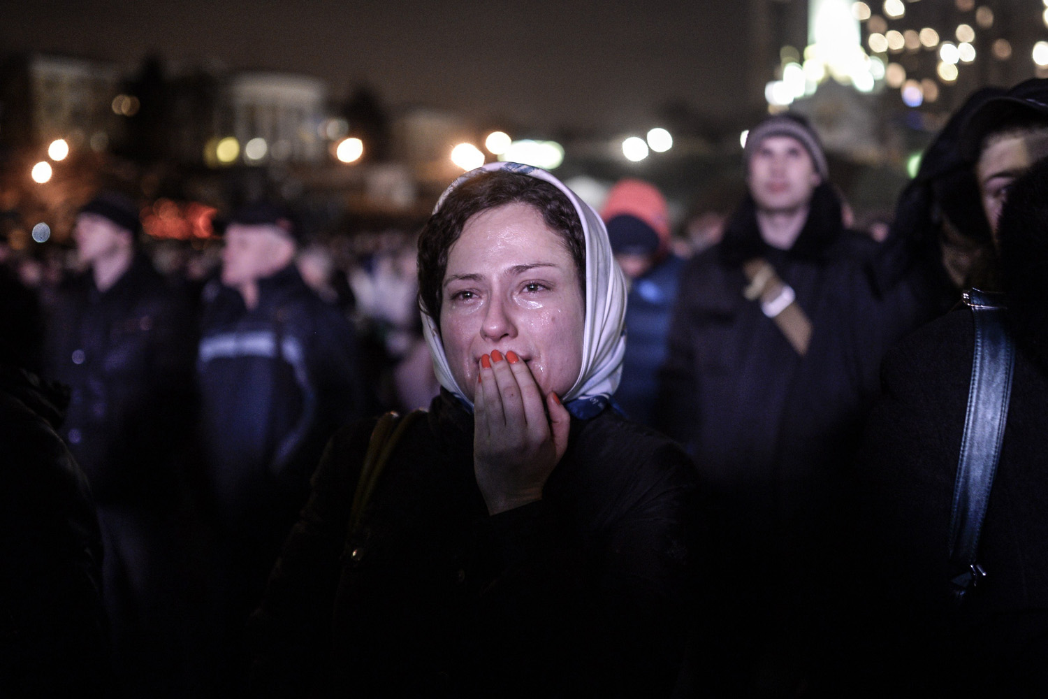 A woman cries on Kiev's Independence Square, Feb. 25, 2014.