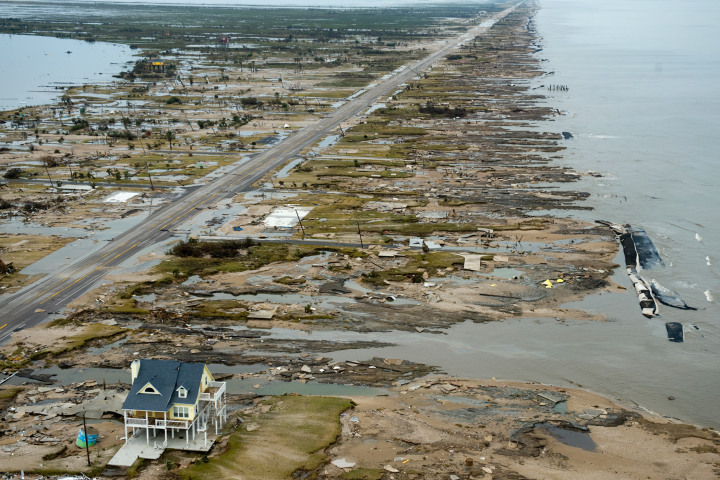 #4 Hurricane Ike - A beachfront home stands among the debris in Gilchrist, Texas on the coast of the Gulf of Mexico, Sept. 14, 2008 after Hurricane Ike hit the area. Ike raked parts of Louisiana and Texas that were still recovering from Katrina, and caused $27.7 billion in damages.