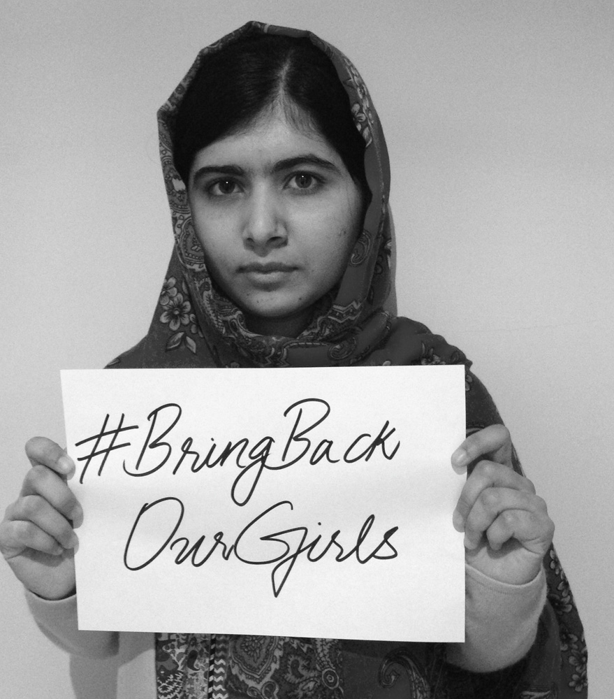 Pakistani activist Malala Yousafzai supporting a social media campaign over the abduction of 276 schoolgirls in Nigeria last month, flooding social media with posts using the hashtag: #BringBackOurGirls on May 8, 2014.