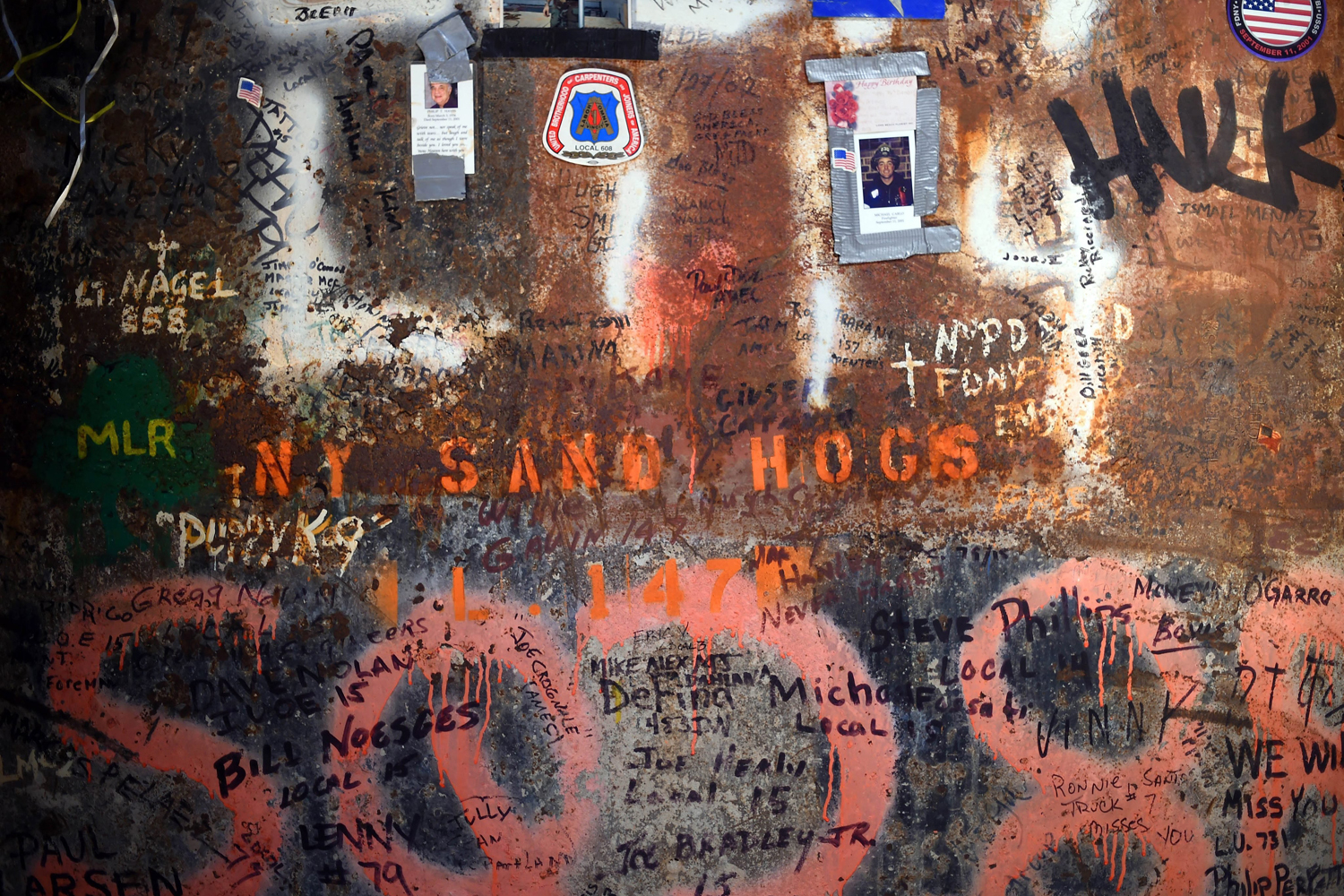 May 15, 2014. Close view of the last column, which was the final steel beam of original World Trade Center that was removed from Ground Zero, is on display at the National September 11 Memorial and Museum at Ground Zero in New York.