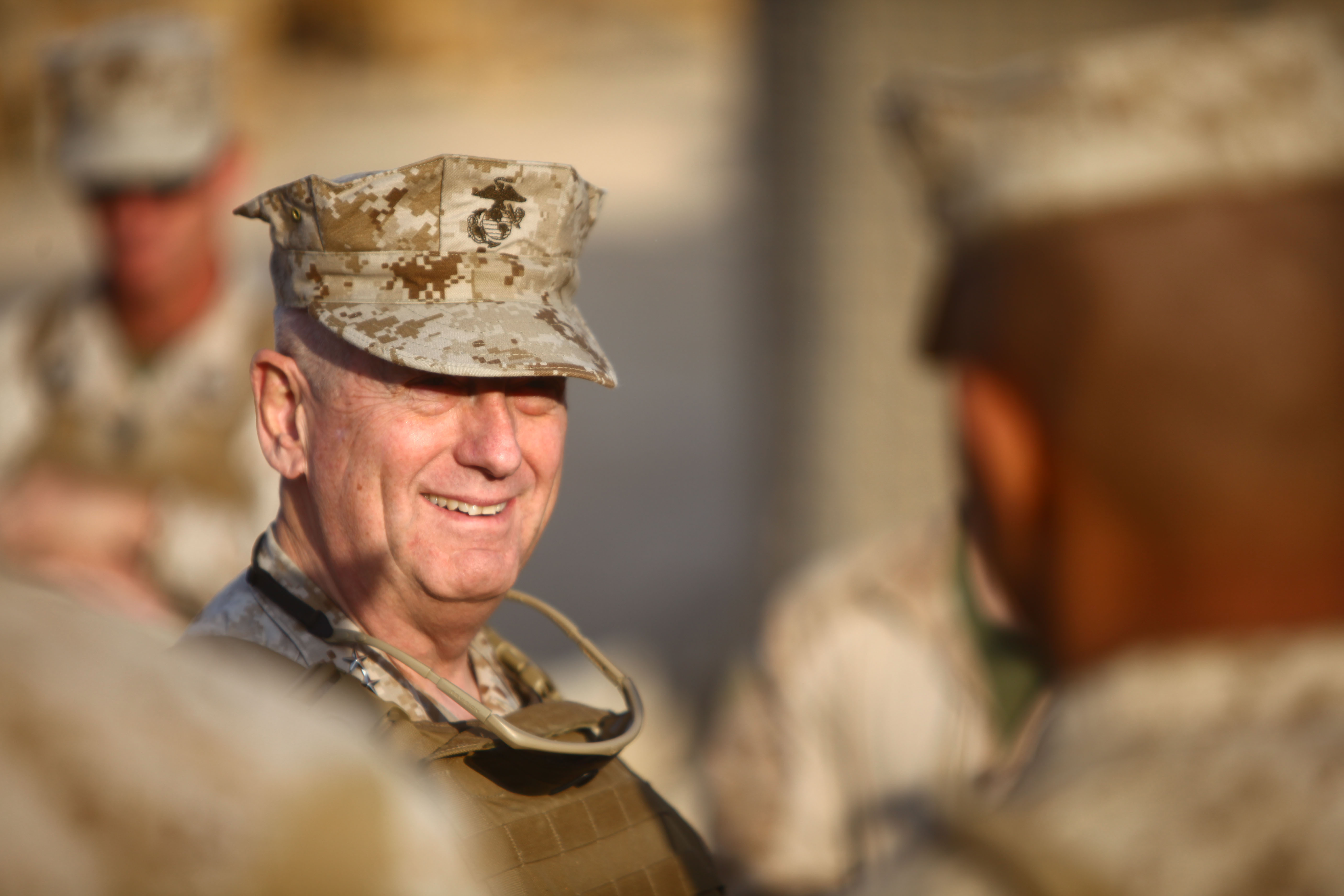 Marine General James Mattis, head of U.S. Central Command, visits troops in Afghanistan on Christmas Day, 2011.