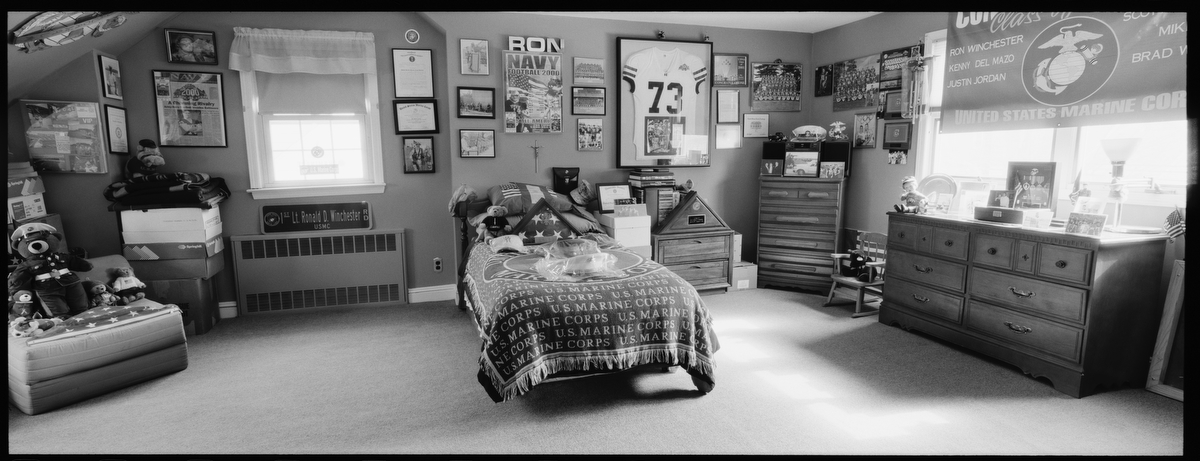 Marine 1st Lt. Ronald Winchester, 25, was killed by a roadside bomb in Qaim, Iraq, on Sept. 3, 2004. He was from Rockville Center, New York. His bedroom was photographed in Feb. 2011.