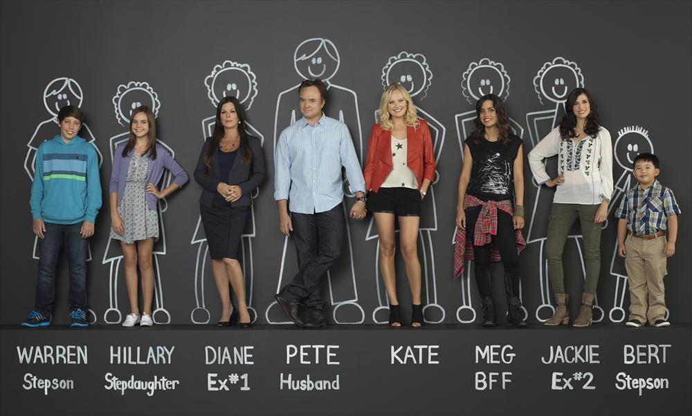 ABC's  Trophy Wife  stars Ryan Lee as Warren, Bailee Madison as Hillary, Marcia Gay Harden as Diane, Bradley Whitford as Pete, Malin Akerman as Kate, Natalie Morales as Meg, Michaela Watkins as Jackie and Albert Tsai as Bert.