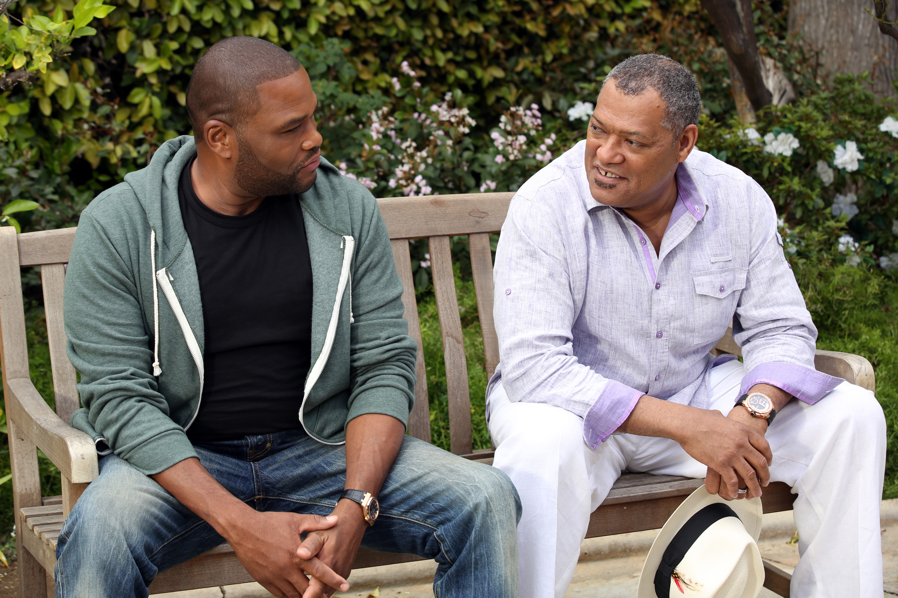 Anthony Anderson and Laurence Fishburne in Black-ish, premiering next season on ABC.