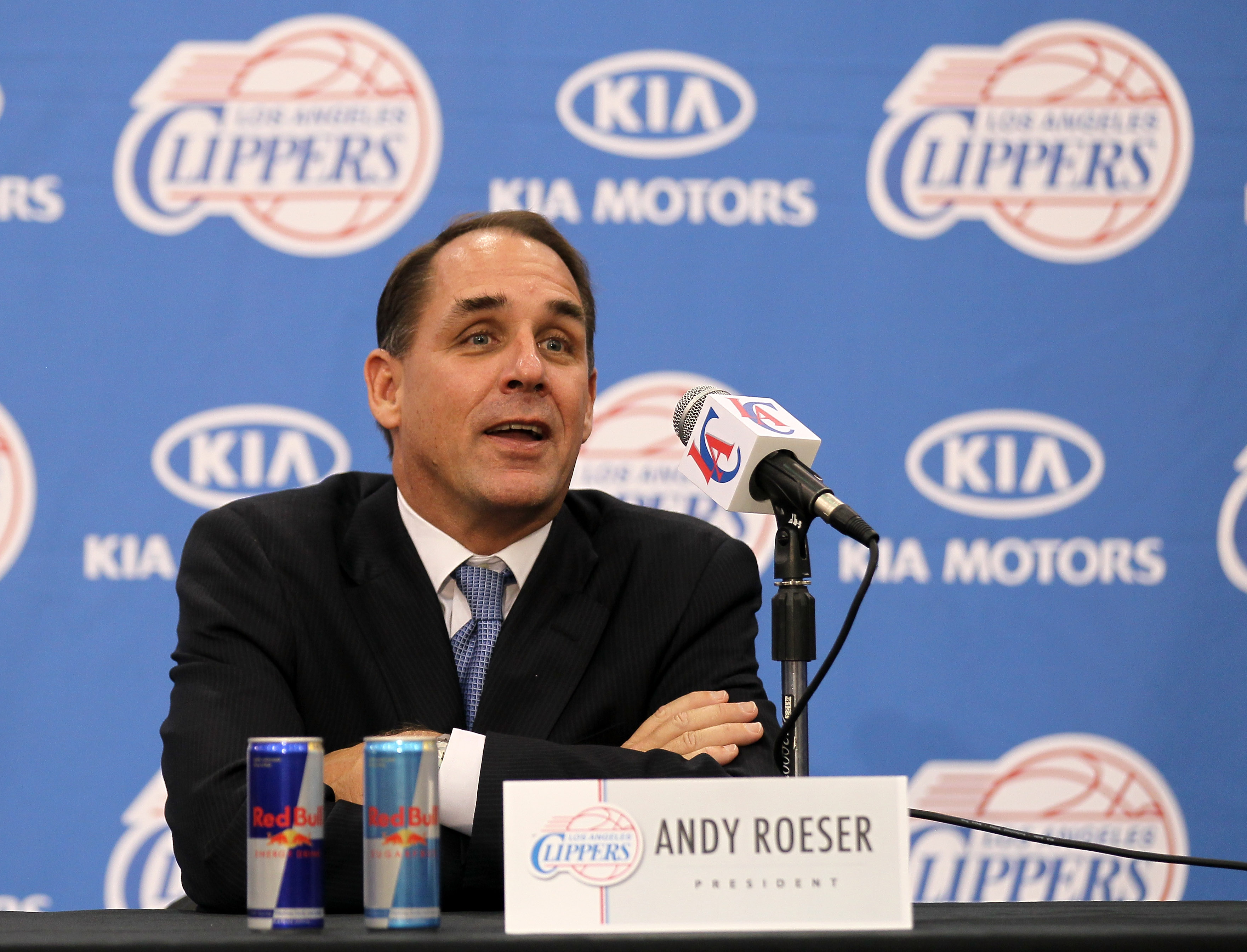 Andy Roeser at a press conference introducing Chris Paul as a member of the Los Angeles Clippers on December 15, 2011 at the Los Angeles Clippers Training Center in Playa Vista, California.