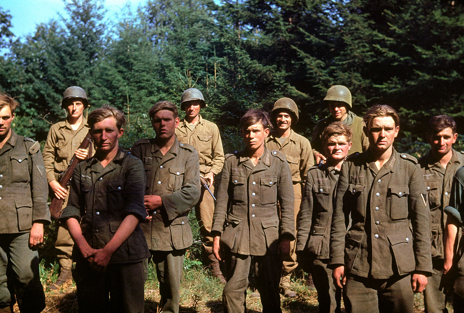 From D-Day until Christmas 1944, German prisoners of war were shipped off to American detention facilities at a rate of 30,000 per month. Above: Captured German troops, June 1944.