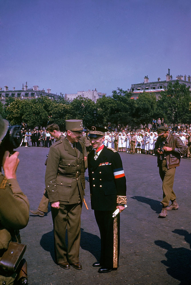 Free French General and military governor of the French capital Pierre Koenig, left, pictured during ceremonies held the day after the liberation of Paris, August 1944.