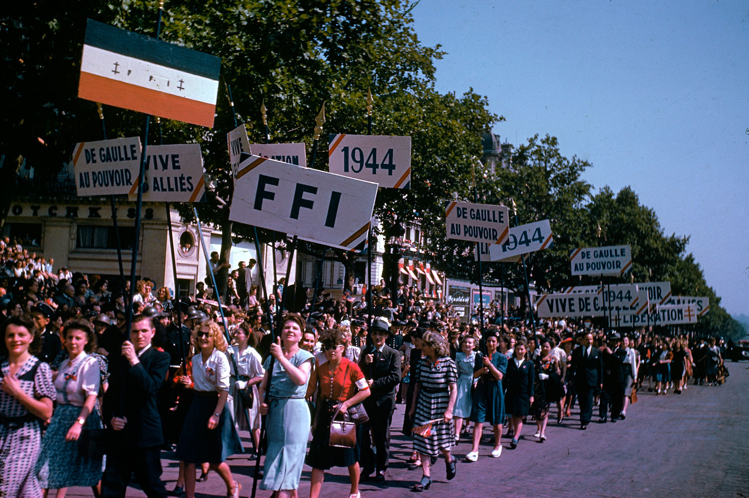 Celebrations in Paris after the liberation of the city, August 1944.