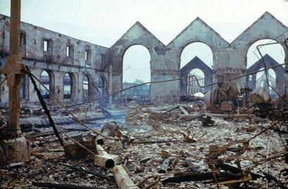 Ruins, northwestern France, summer 1944, after D-Day.