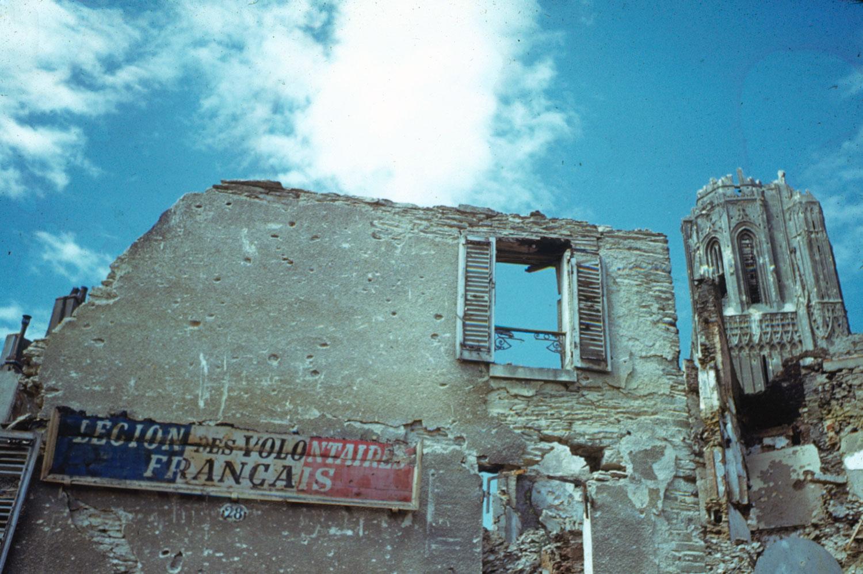 Post-D-Day destruction, northern France, 1944.