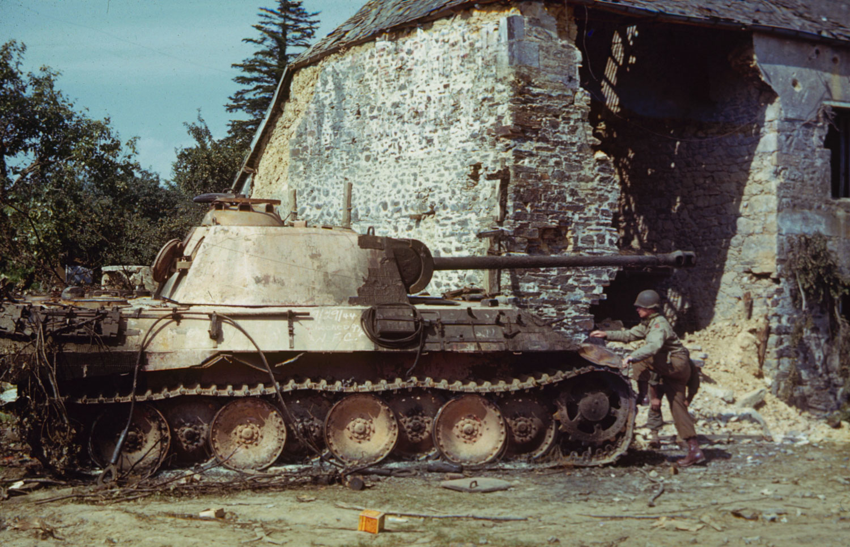 Ruined tank near St. Gilles (or perhaps Hambye), France, 1944.