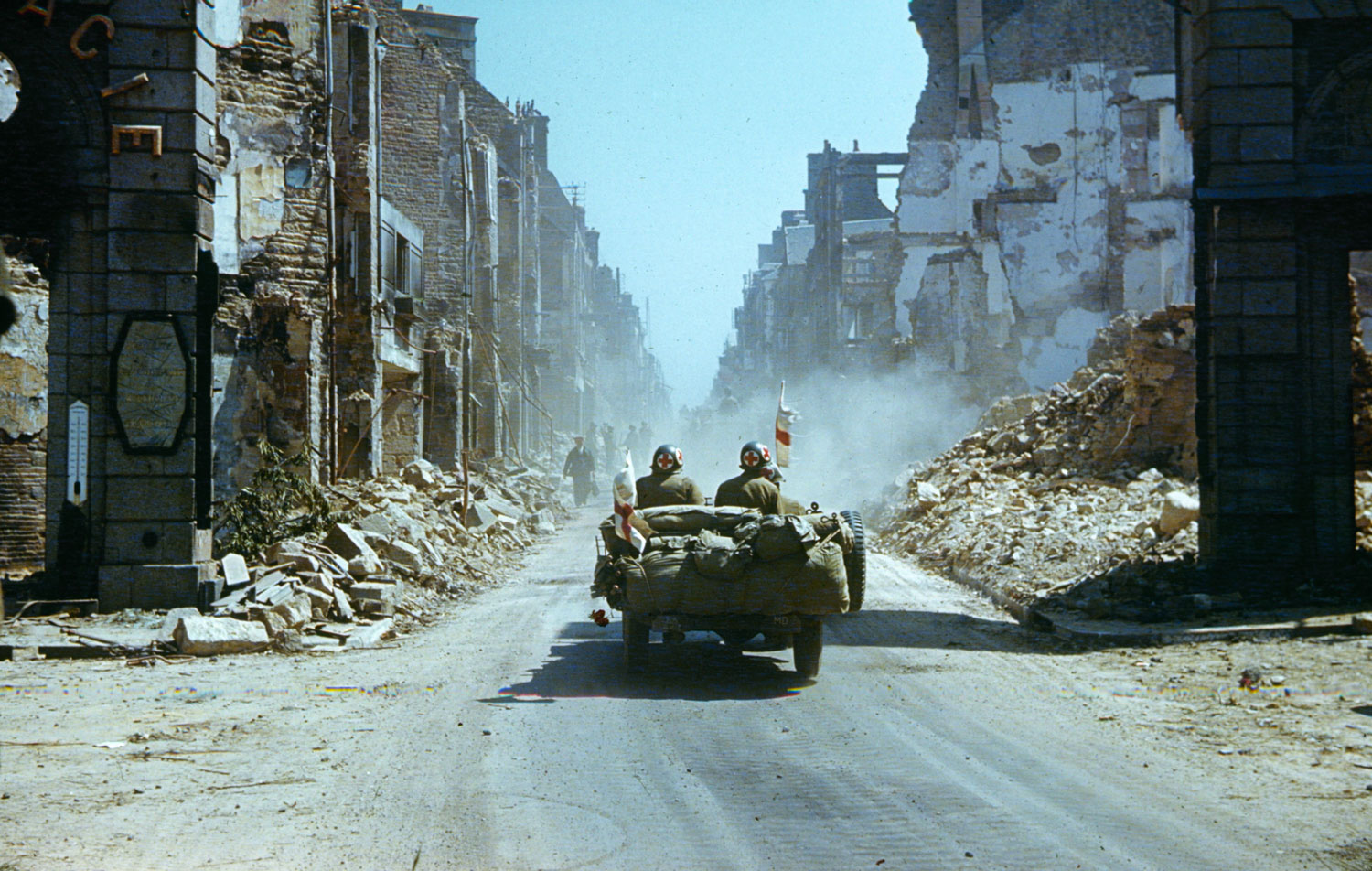 Ruins of a town in northwestern France, summer 1944.