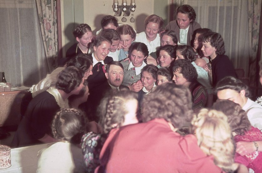 Adolf Hitler surrounded by adoring Austrian women, 1939.