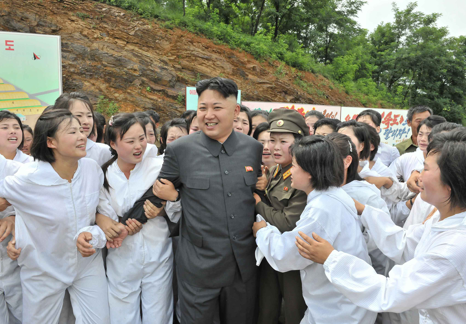 North Korean leader Kim Jong Un visits a mushroom farm in an undated photo released in July 2013 by North Korea's Korean Central News Agency (KCNA).