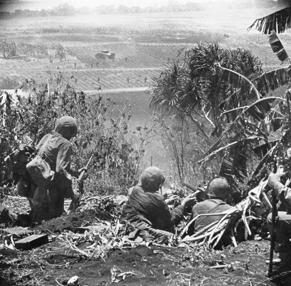 American Marines in action during the fight for control of Saipan, summer 1944.