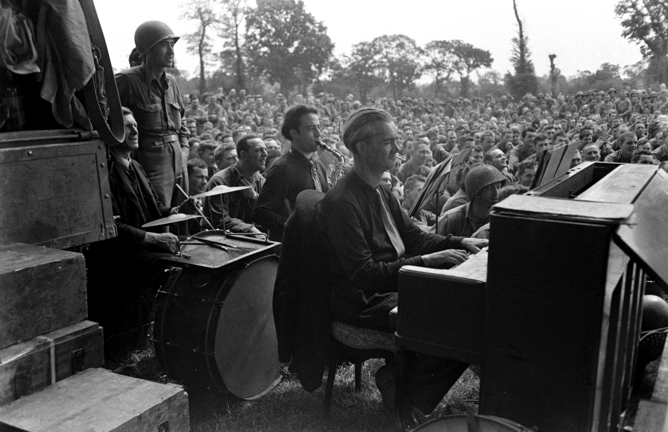 Scene at show for U.S. troops after D-Day, Normandy, 1944.