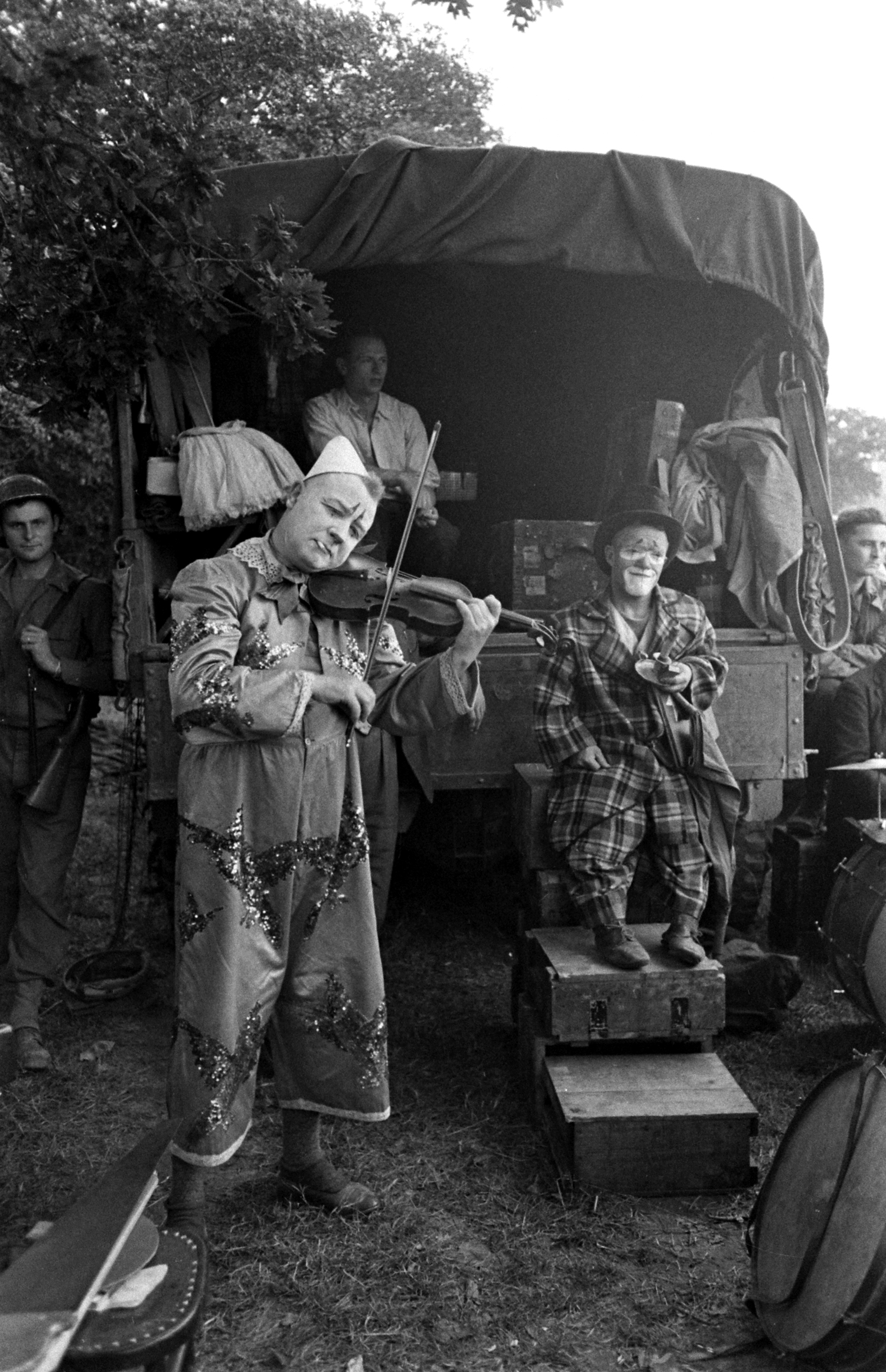 Performers in show for U.S. troops after D-Day, Normandy, 1944.