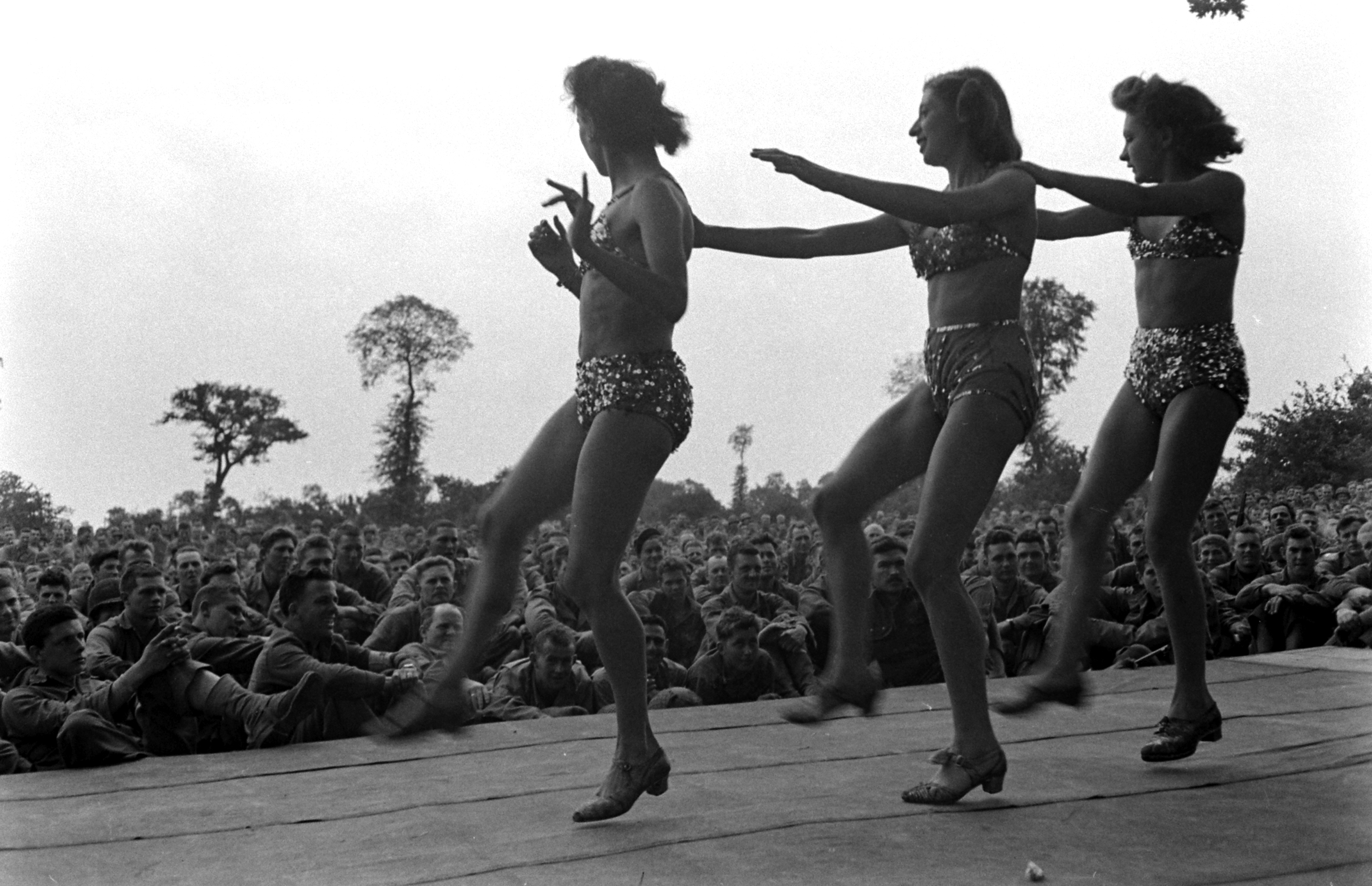 French performers in show for U.S. troops after D-Day, Normandy, 1944.