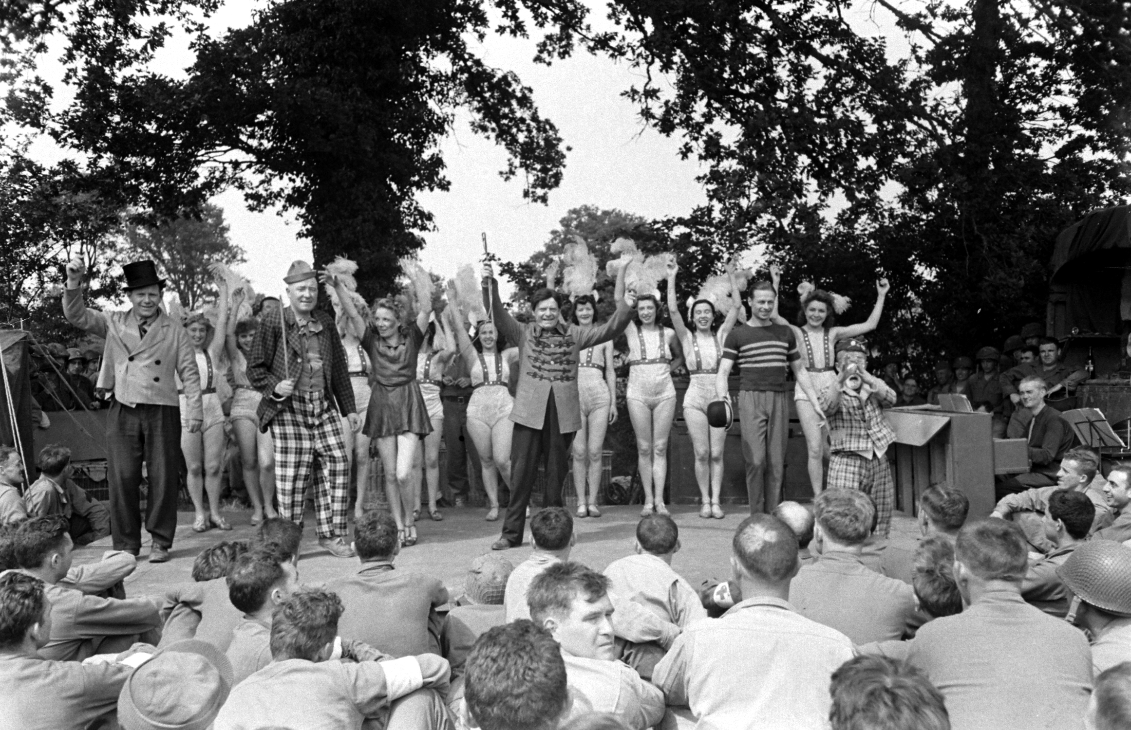 French performers in show for U.S. troops after D-Day take a bow, Normandy, 1944.
