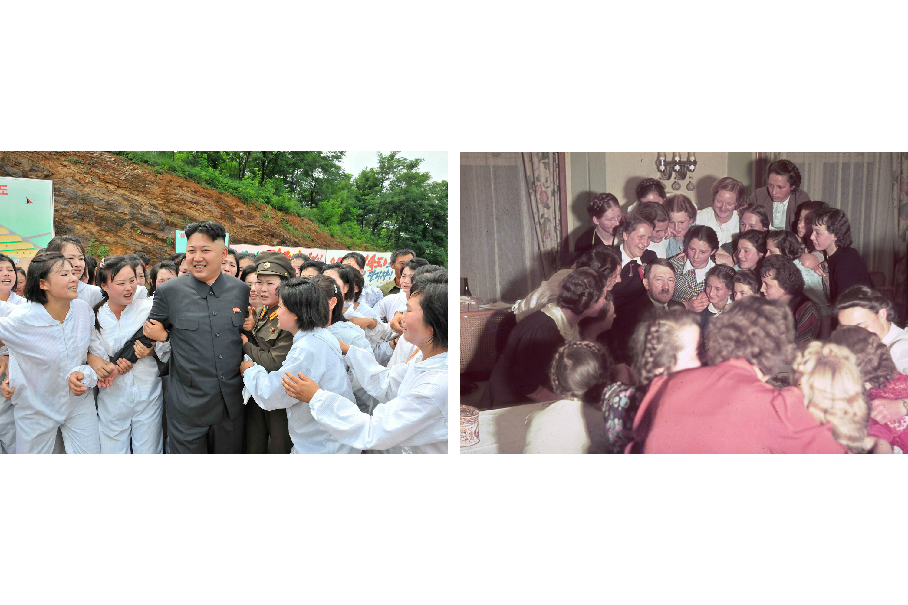 (Left) North Korean leader Kim Jong Un visits a mushroom farm in an undated photo released in July 2013 by North Korea's Korean Central News Agency (KCNA); (right) Adolf Hitler surrounded by adoring Austrian women and girls, 1939.