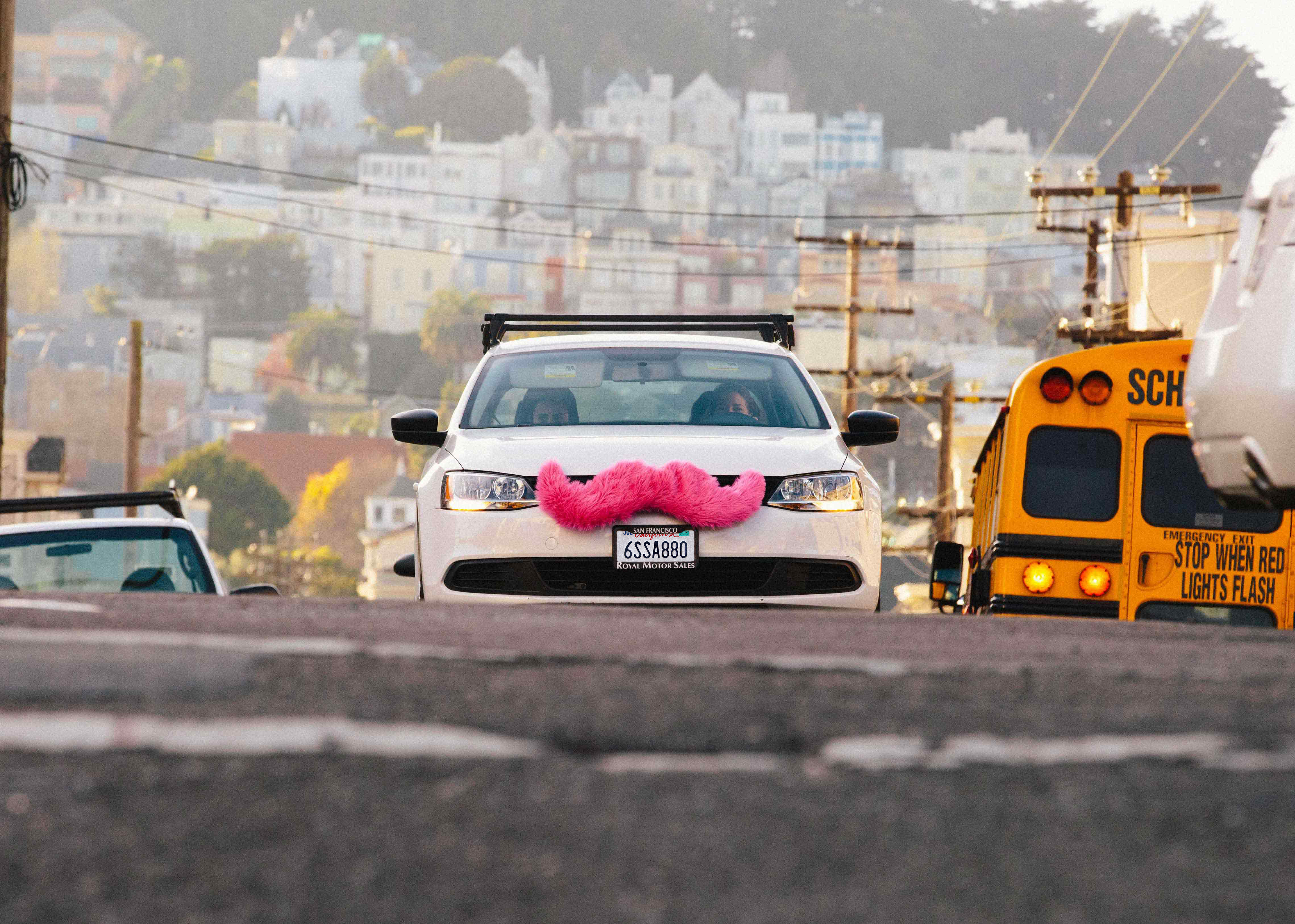 A Lyft car operates in San Francisco.