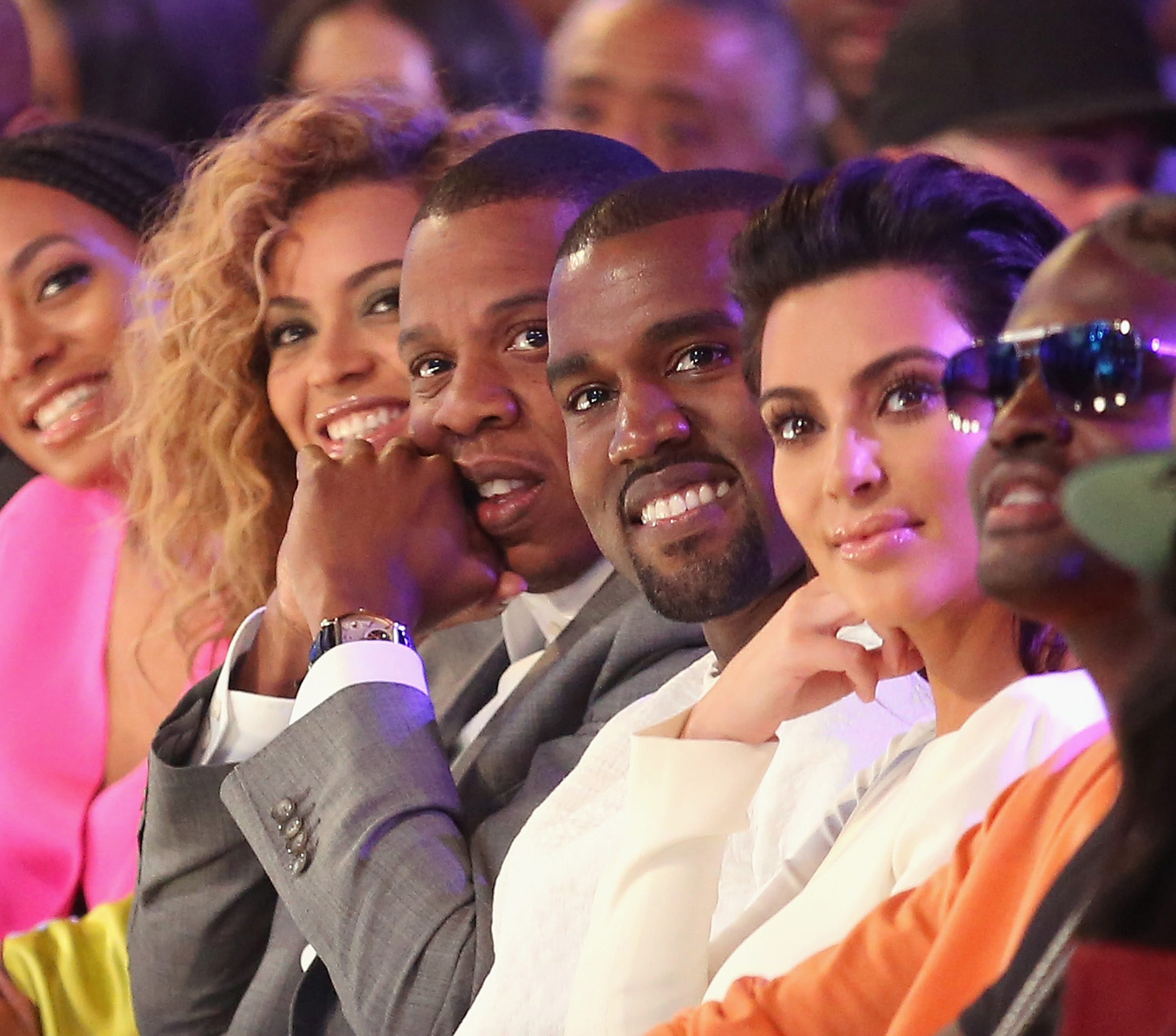 How's this for a double date? Kimye sat next to Mr. and Mrs. Carter (all hail queen Bey) at the BET awards in July 2012.