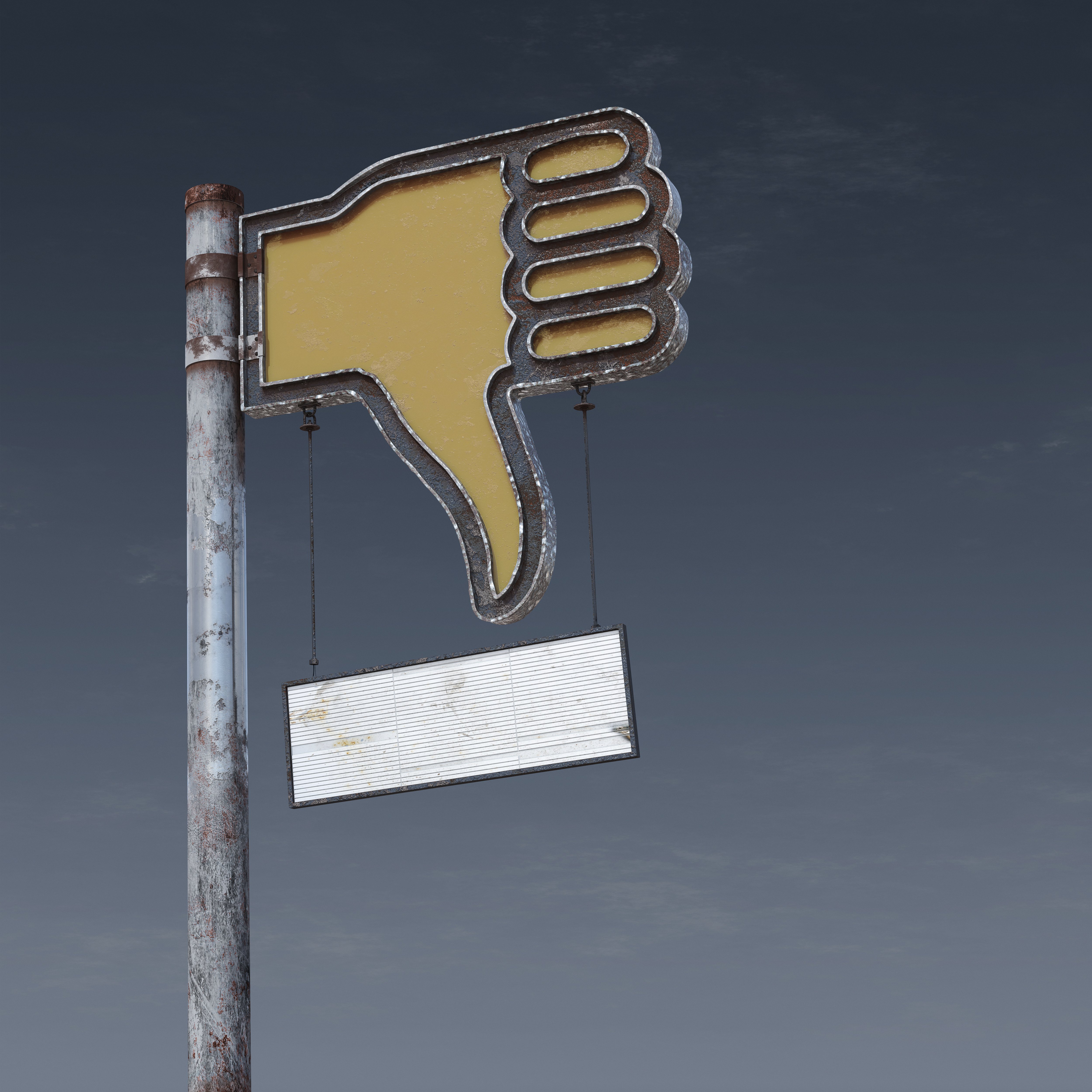 Weathered and rusted thumbs down sign post