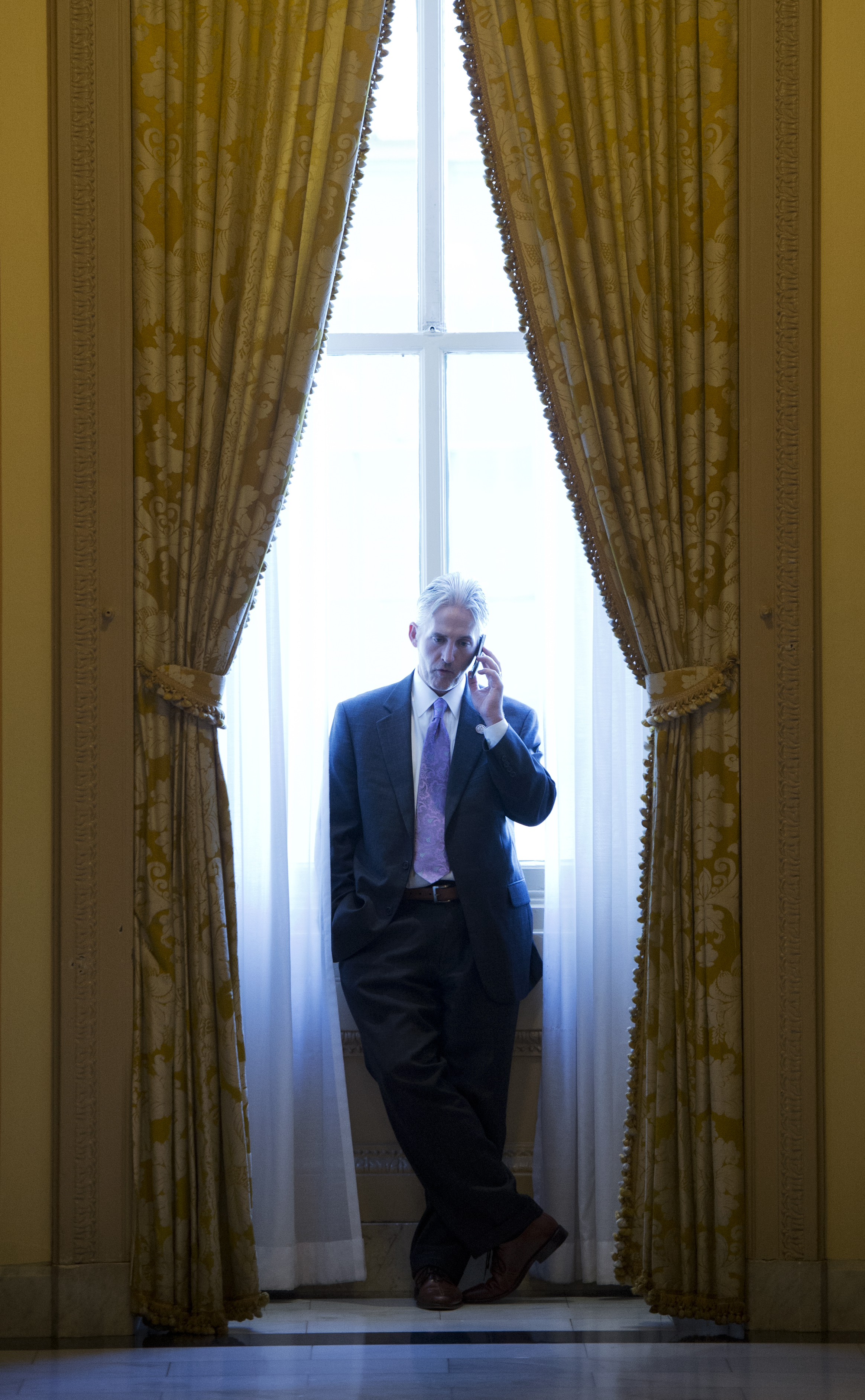 Rep. Trey Gowdy, R-S.C., talks on the phone on the House side of the Capitol.