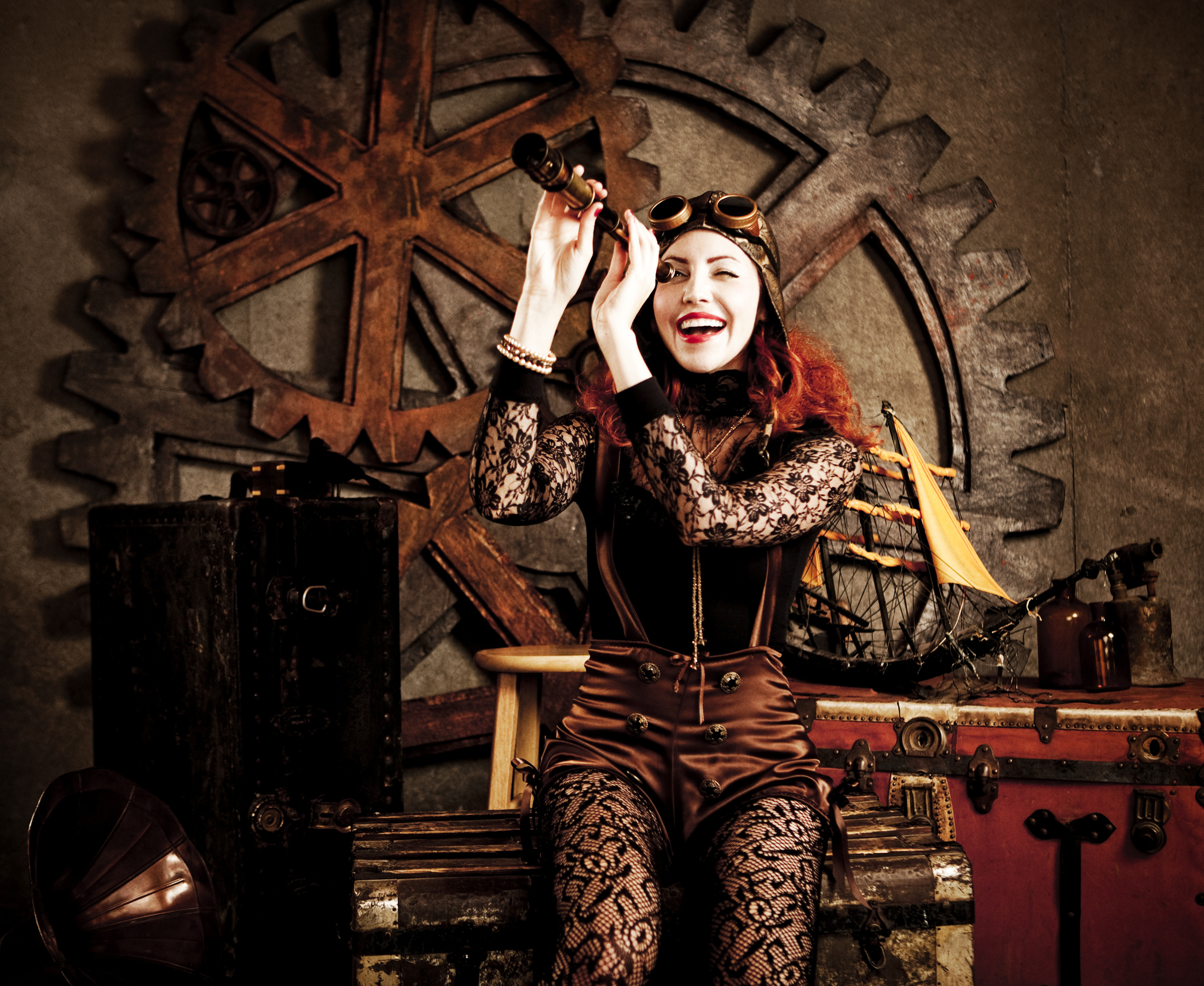This picture displays  nautical steampunk fashion.