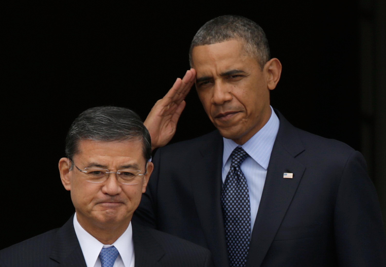 VA Secretary Eric Shinseki and President Obama at a veterans' event last year.
