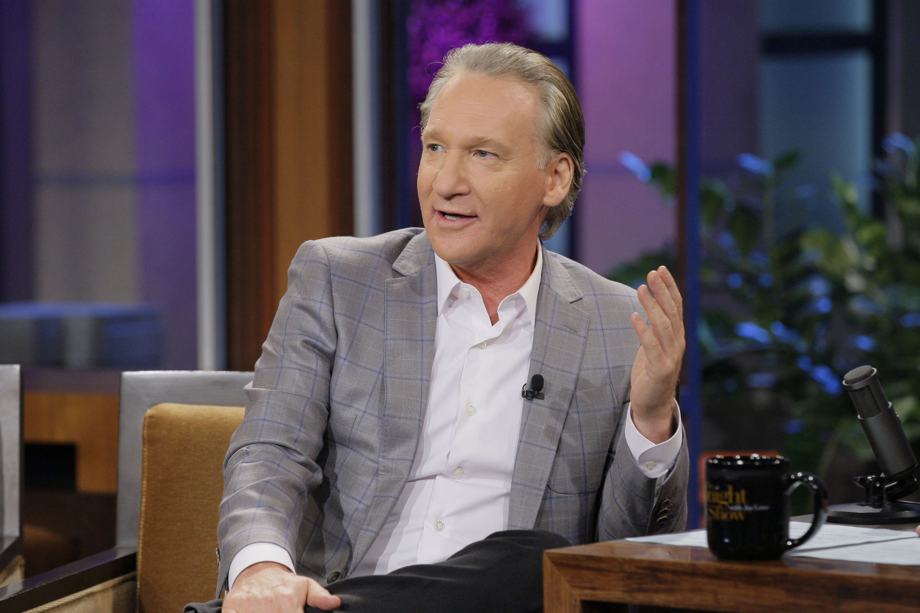 Comedian Bill Maher during an interview with Jay Leno on September 3, 2013.