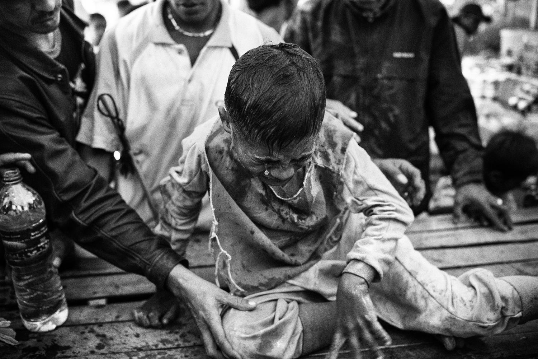 July 14, 2012. A jockey  cries after a fall.