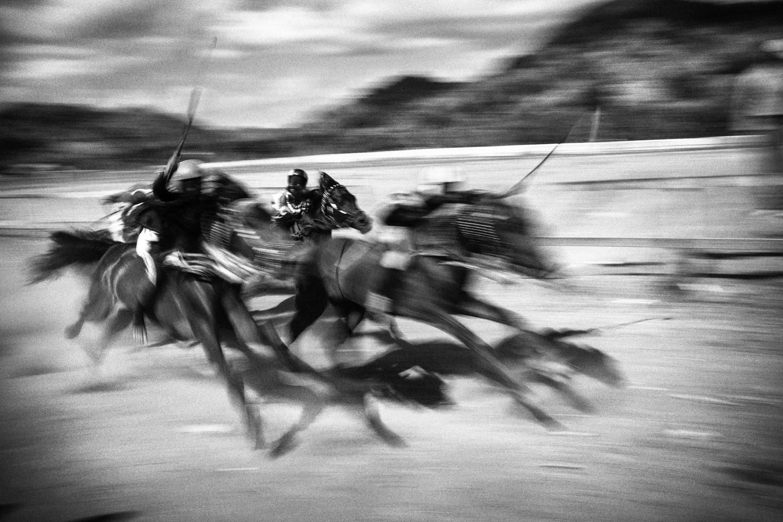 July 15, 2012. Jockeys are seen during a race.