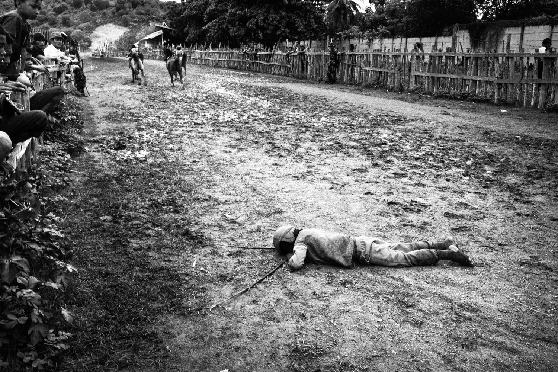 December 11, 2010. A jockey is seen after a fall.