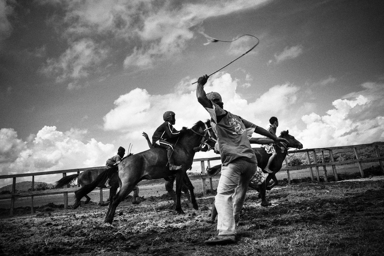 February 10, 2013. Jockeys are seen practicing.