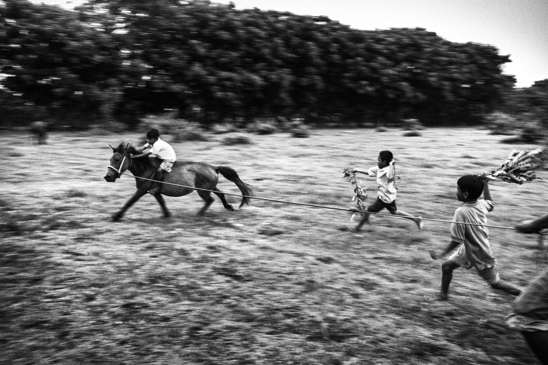 January 24, 2014. A jockey practices horse riding.