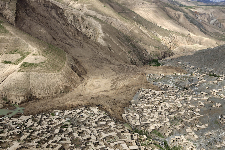An aerial view of the landslide that buried Abi Barik village in Badakhshan province, northeastern Afghanistan, on May 5, 2014.