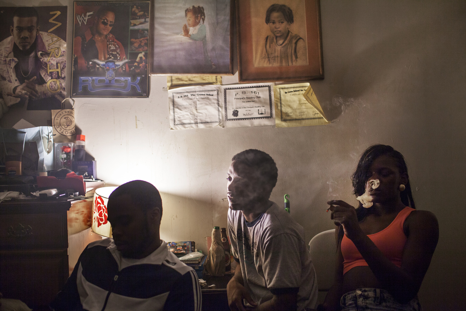 August 19, 2013. Velvet and friends smoke and watch the new Grand Theft Auto game being played in a  friend's bedroom.