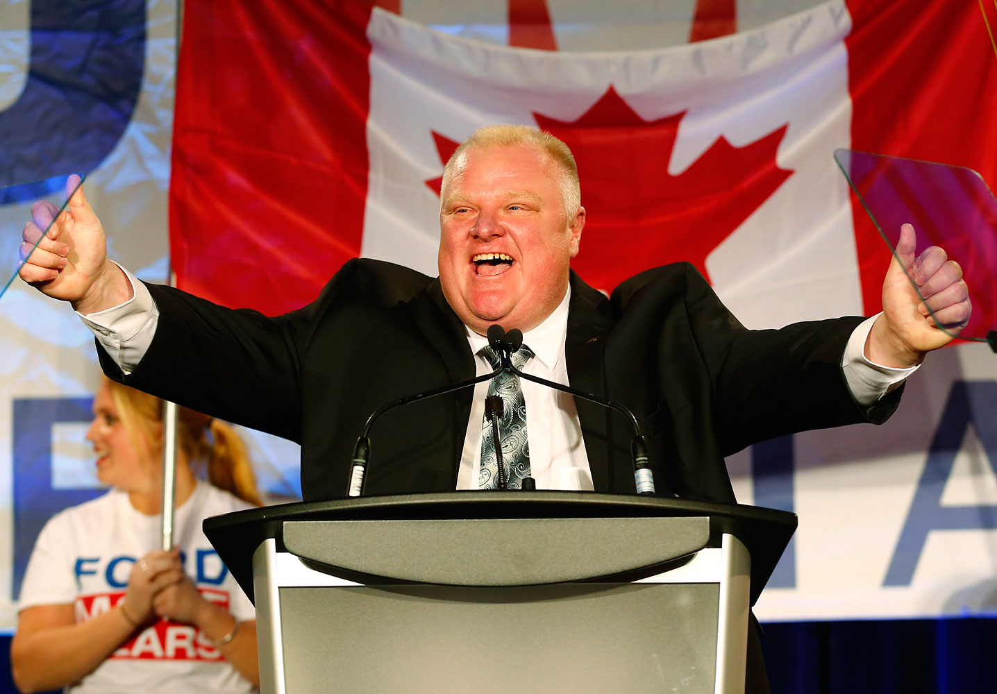 Toronto Mayor Rob Ford reacts on the podium during his campaign launch party in Toronto in this file photo taken April 17, 2014.