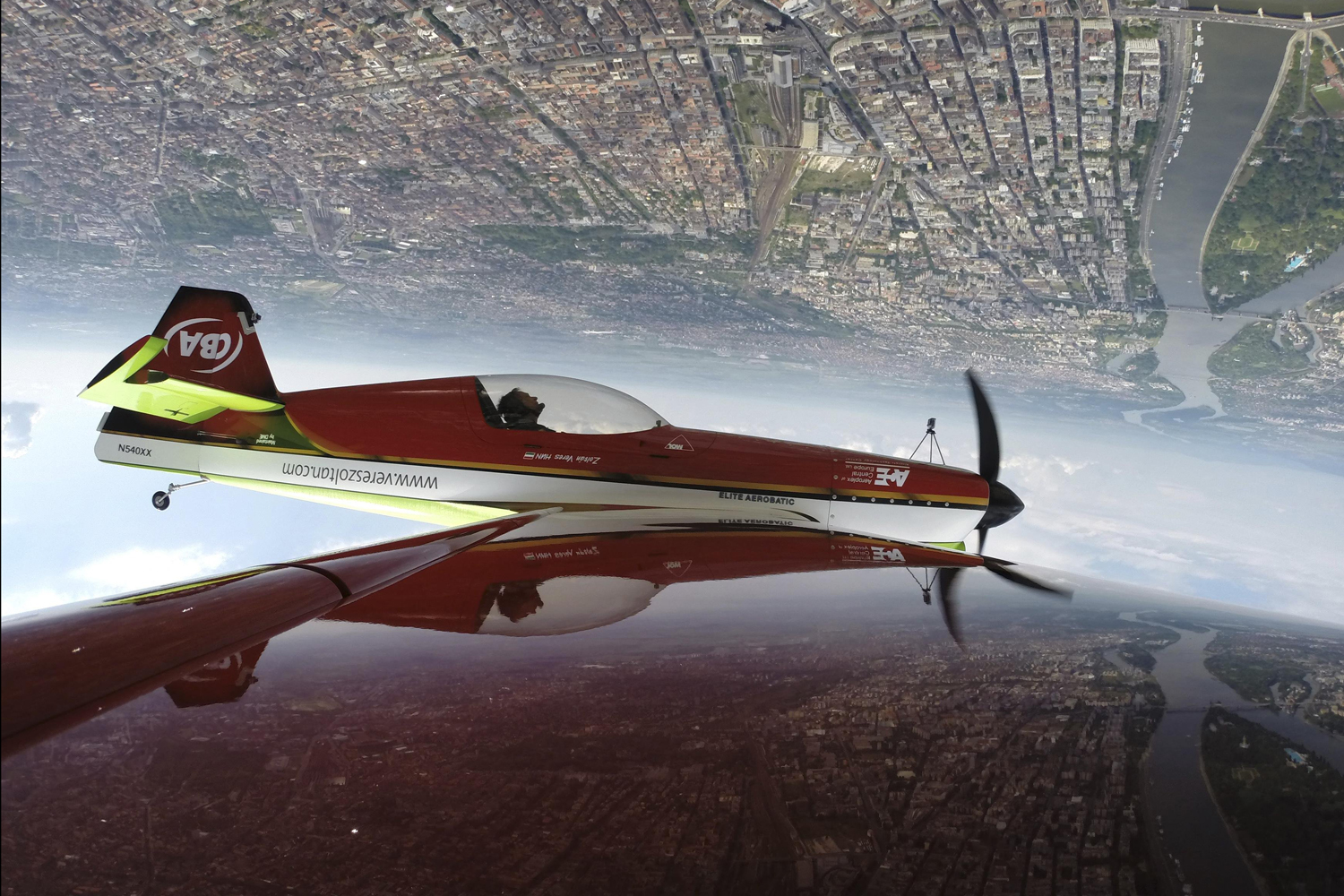 May 1, 2014.. Zoltan Veres of Hungary performs with his MXS airplane during an air show in Budapest, Hungary.