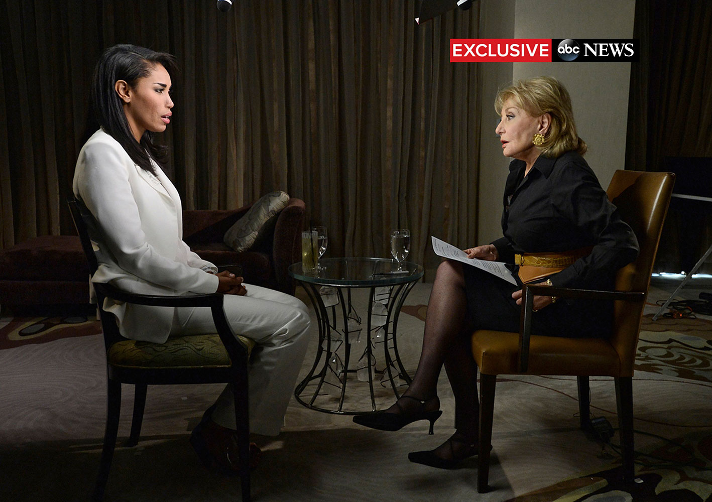 Barbara Walters interviews Los Angeles Clippers owner Donald Sterling's female companion, V. Stiviano, in Los Angeles in this handout picture taken May 2, 2014, courtesy of ABC.