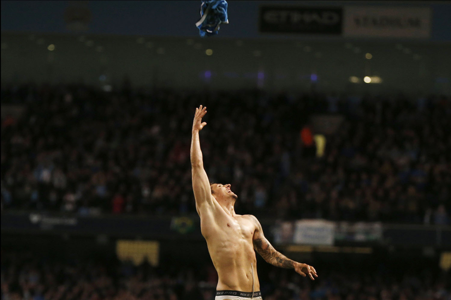 Manchester City's Stevan Jovetic celebrates after scoring a goal against Aston Villa during their English Premier League soccer match at the Etihad Stadium in Manchester, northern England, May 7, 2014.