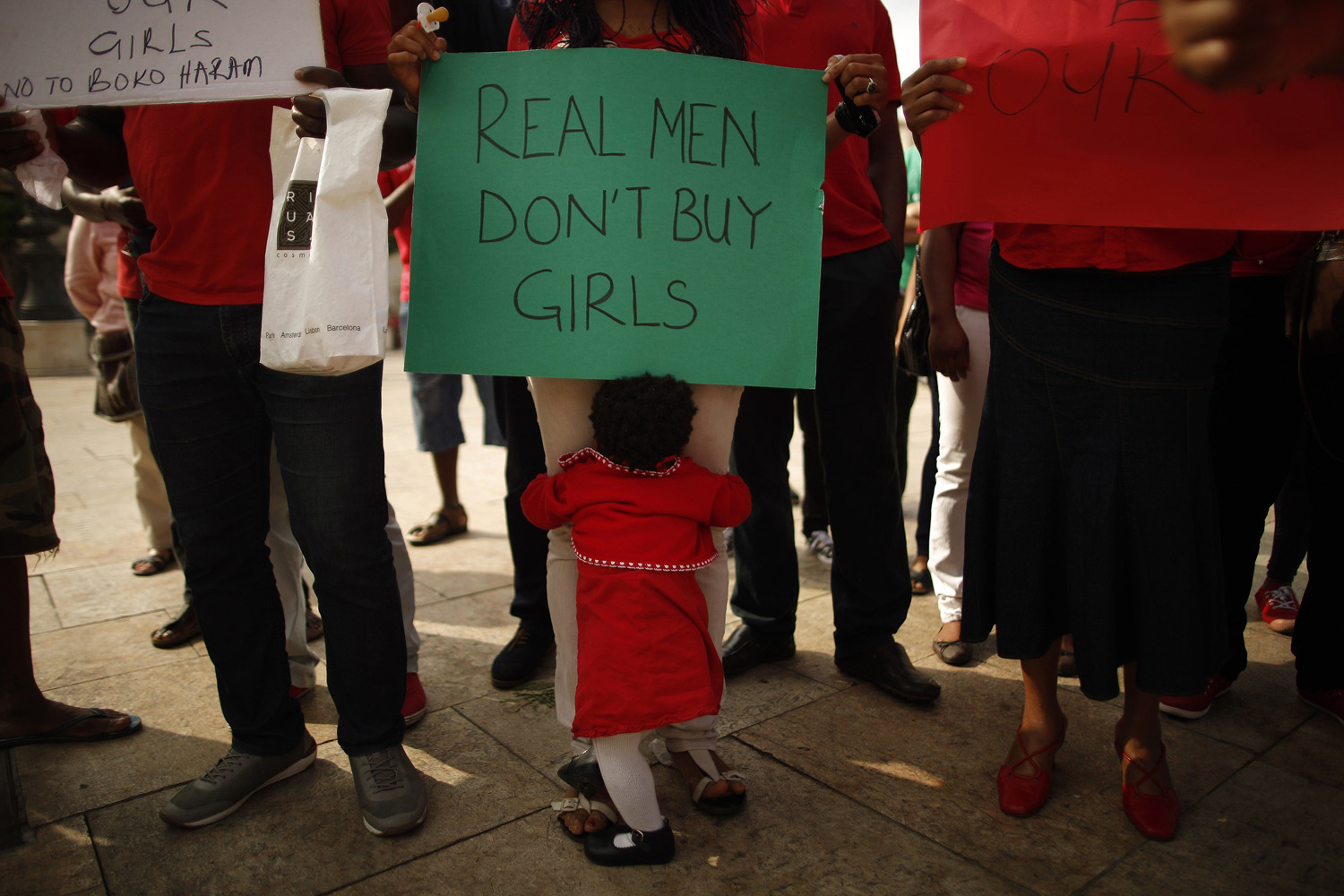 May 13, 2014. Nigerians take part in a protest, called by Malaga's Nigerian women Association, for the release of the abducted secondary school girls in the remote village of Chibok in Nigeria, at La Merced square in Malaga, southern Spain.