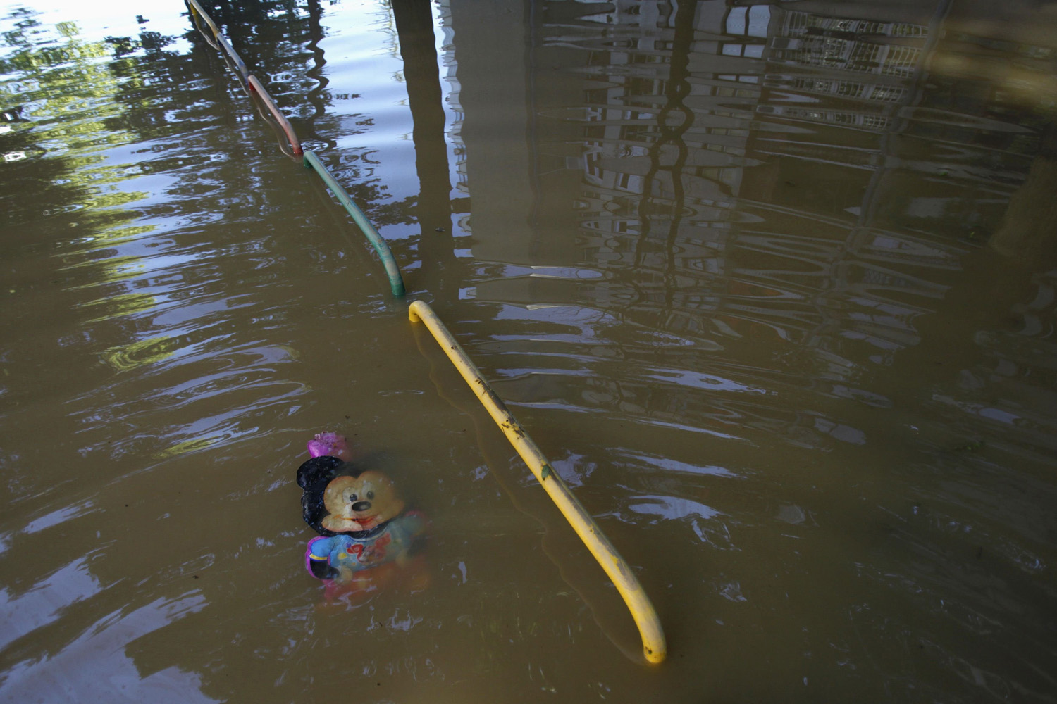May 19, 2014. A toy is pictured in the flooded town of Obrenovac, southwest of Belgrade.
