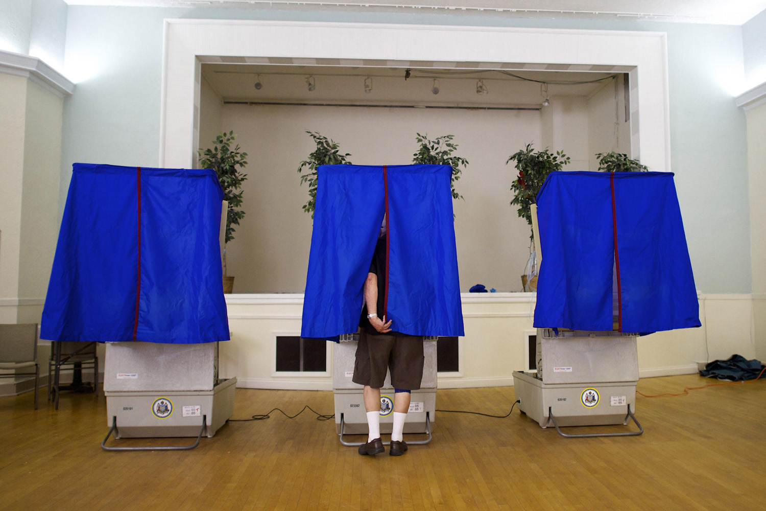 May 20, 2014.  Frank Campanaro votes at the Greek Orthodox Church voting center on primary election day in Philadelphia.