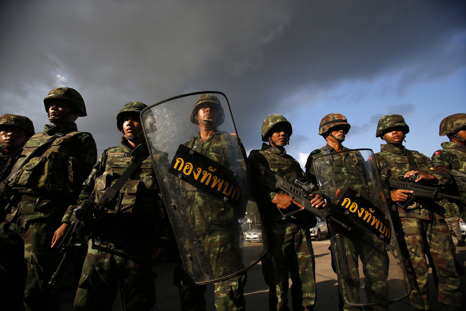 May 22, 2014. Thai soldiers stand guard during a coup at the Army Club where Thailand's army chief held a meeting with all rival factions in central Bangkok.