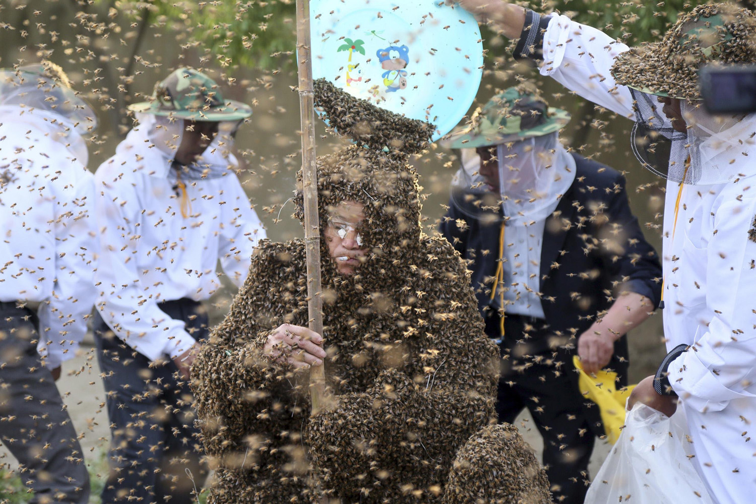 Gao Bingguo is covered with bees during an attempt to break the Guinness World Record for being covered by the largest number of bees, in Taian, Shandong province, China on May 27, 2014.