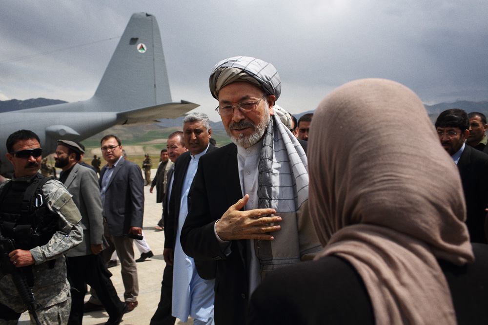 Mohammad Karim Khalili, one of Afghanistan's two Vice Presidents, arrived at Faizabad airport on Military aircraft and was greeted by local dignitaries on the runway before flying by helicopter to the site of the landslide in Argo district, May 3, 2014.