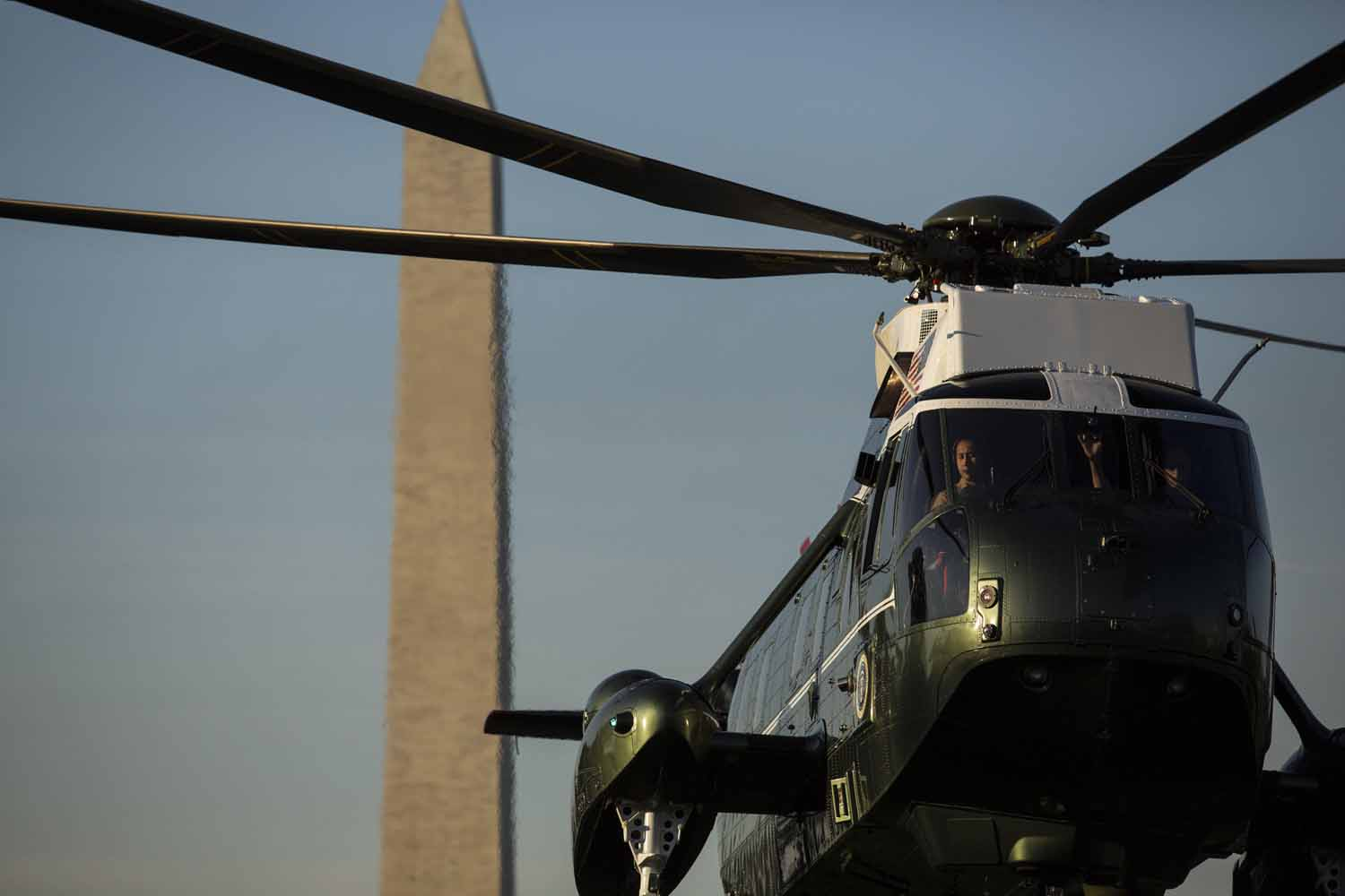 May 26, 2014. US - Marine One, with United States President Barack Obama onboard, prepares to land on the South Lawn at the White House.